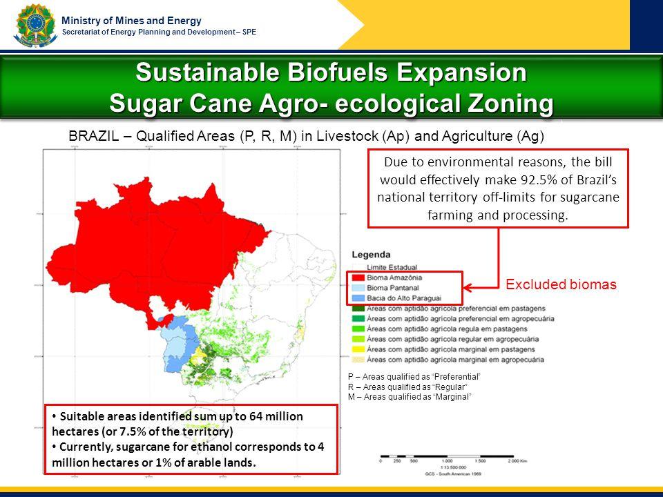 Sustainable Biofuels Expansion Sugar Cane Agro- ecological Zoning