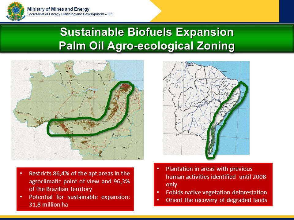 Sustainable Biofuels Expansion Palm Oil Agro-ecological Zoning