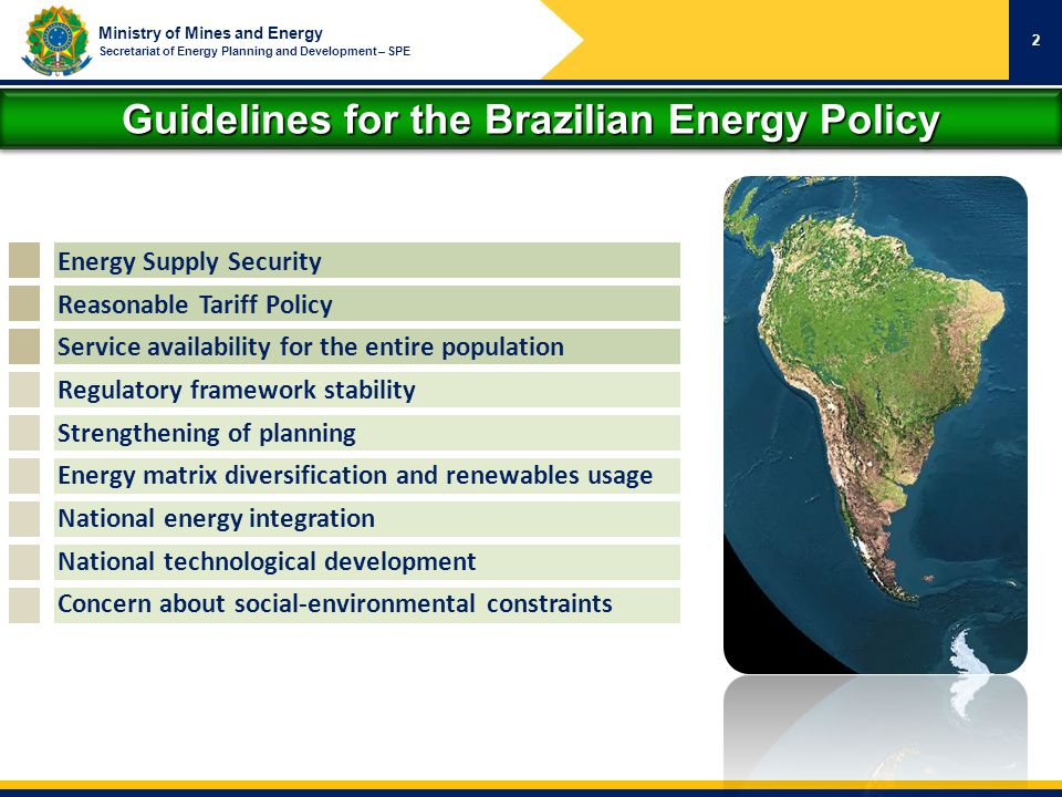 Guidelines for the Brazilian Energy Policy