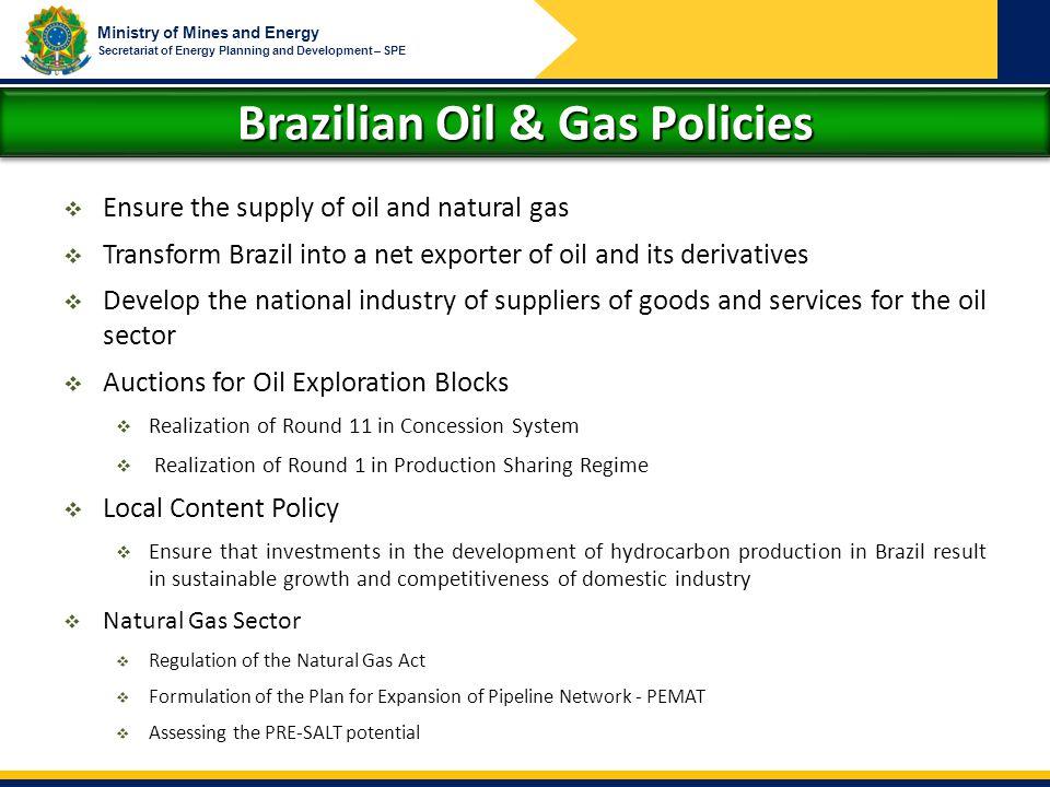 Brazilian Oil & Gas Policies
