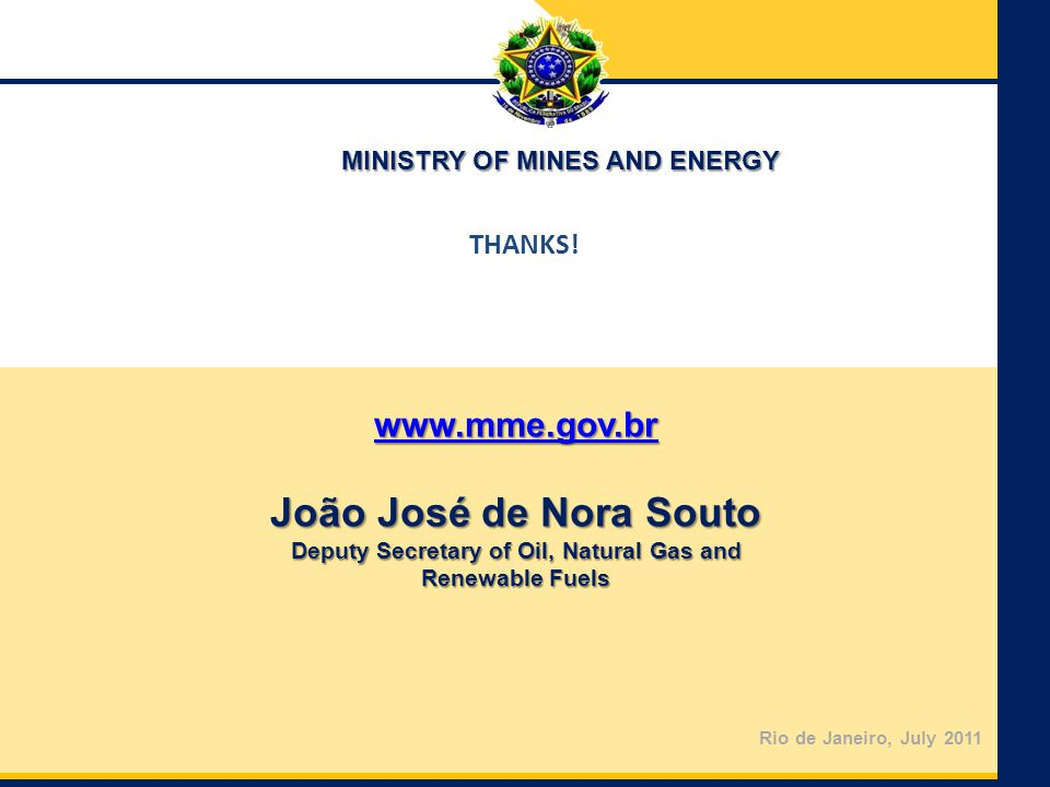 MINISTRY OF MINES AND ENERGY Deputy Secretary of Oil, Natural Gas and