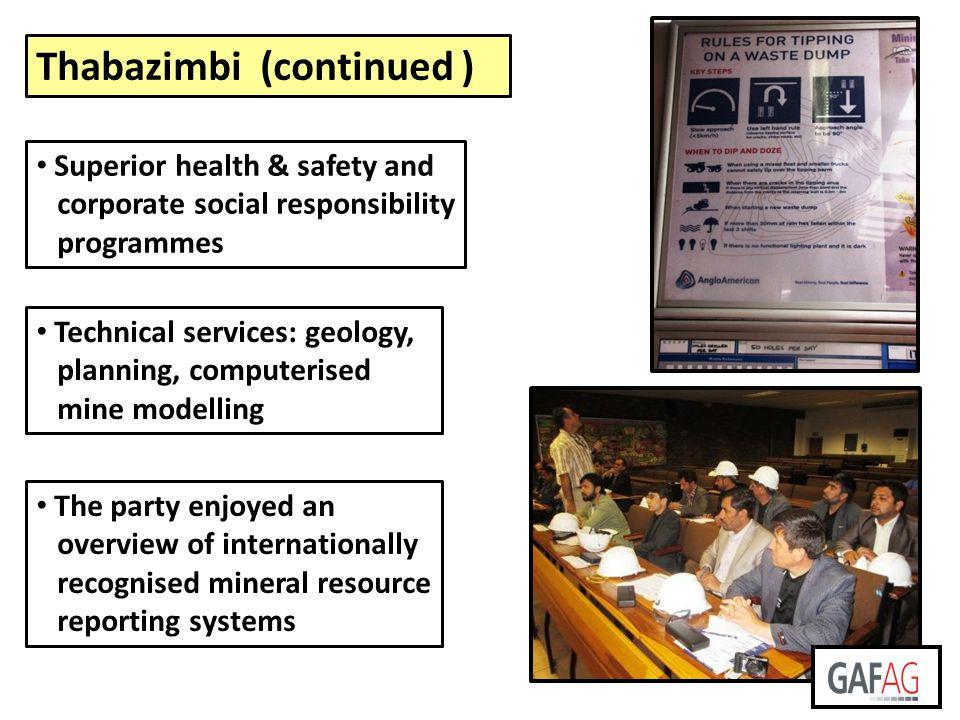 Thabazimbi (continued )