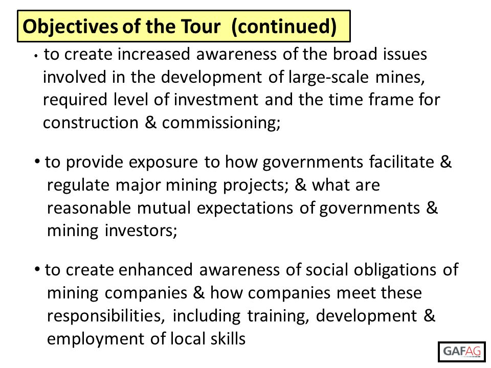 Objectives of the Tour (continued)
