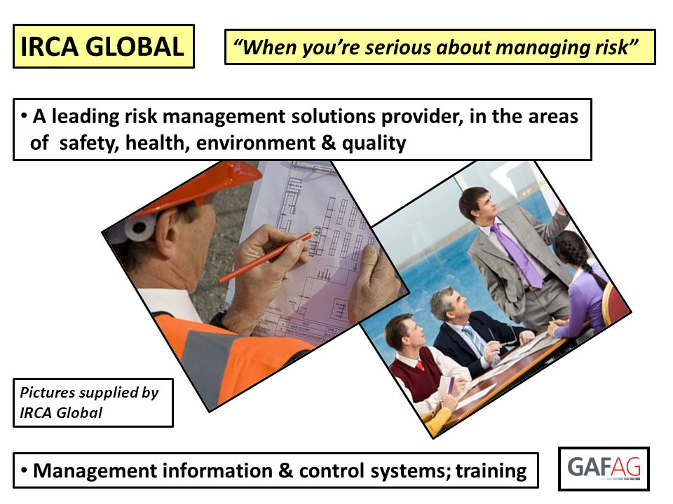 IRCA GLOBAL When you're serious about managing risk