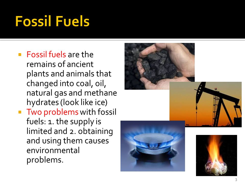 Fossil Fuels Fossil fuels are the remains of ancient plants and animals that changed into coal, oil, natural gas and methane hydrates (look like ice)