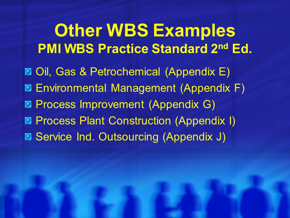 Other WBS Examples PMI WBS Practice Standard 2nd Ed.