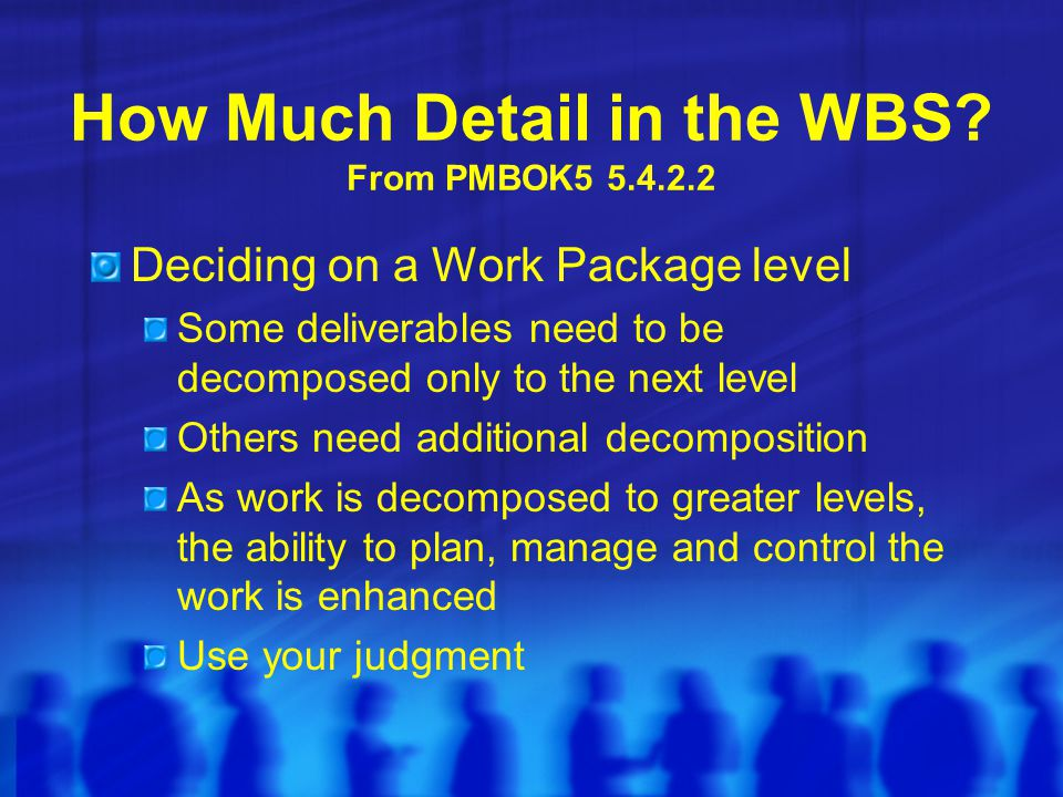 How Much Detail in the WBS From PMBOK5 5.4.2.2