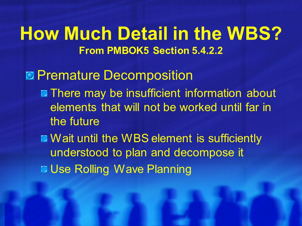 How Much Detail in the WBS From PMBOK5 Section 5.4.2.2