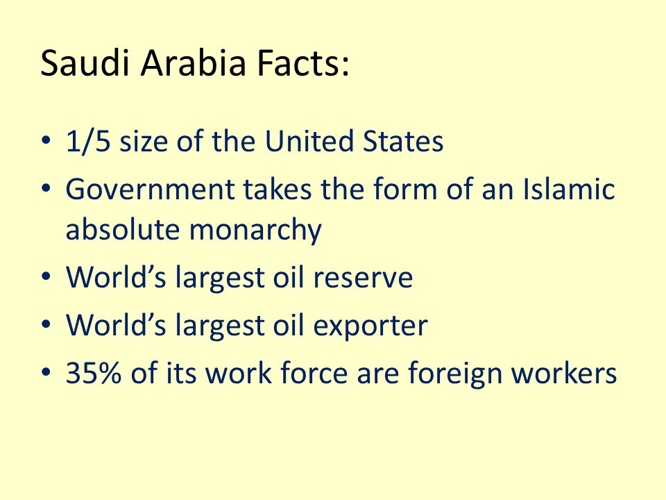 Saudi Arabia Facts: 1/5 size of the United States