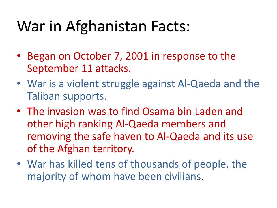 War in Afghanistan Facts:
