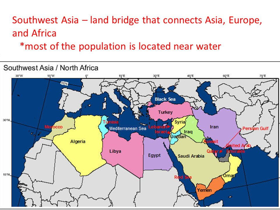 Southwest Asia – land bridge that connects Asia, Europe, and Africa