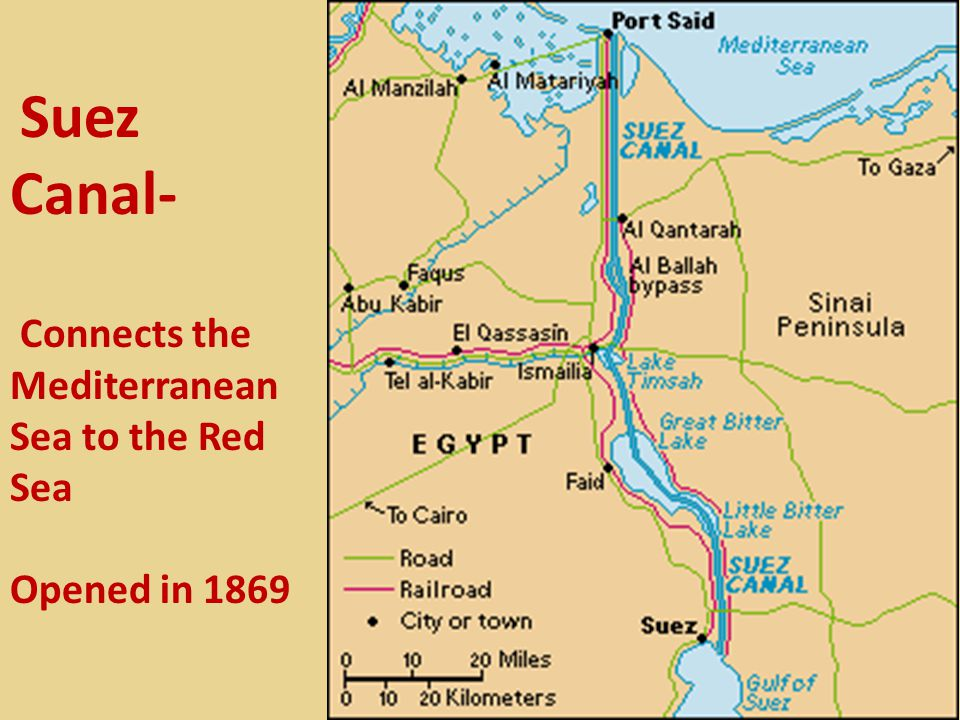 Suez Canal- Connects the Mediterranean Sea to the Red Sea Opened in 1869