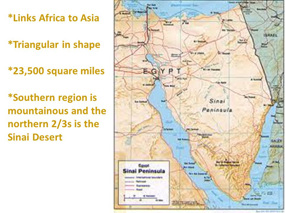 *Links Africa to Asia *Triangular in shape. *23,500 square miles.