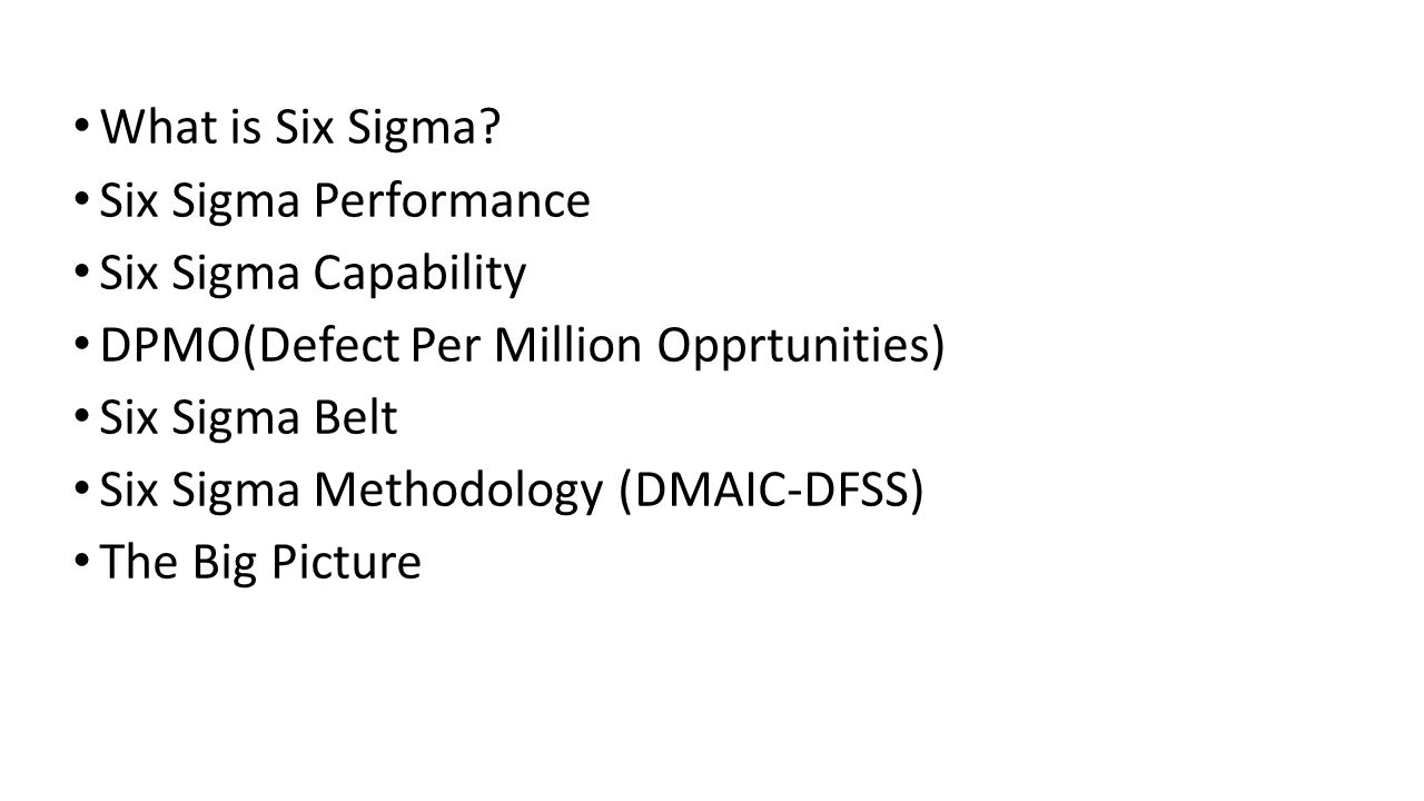 What is Six Sigma Six Sigma Performance. Six Sigma Capability. DPMO(Defect Per Million Opprtunities)
