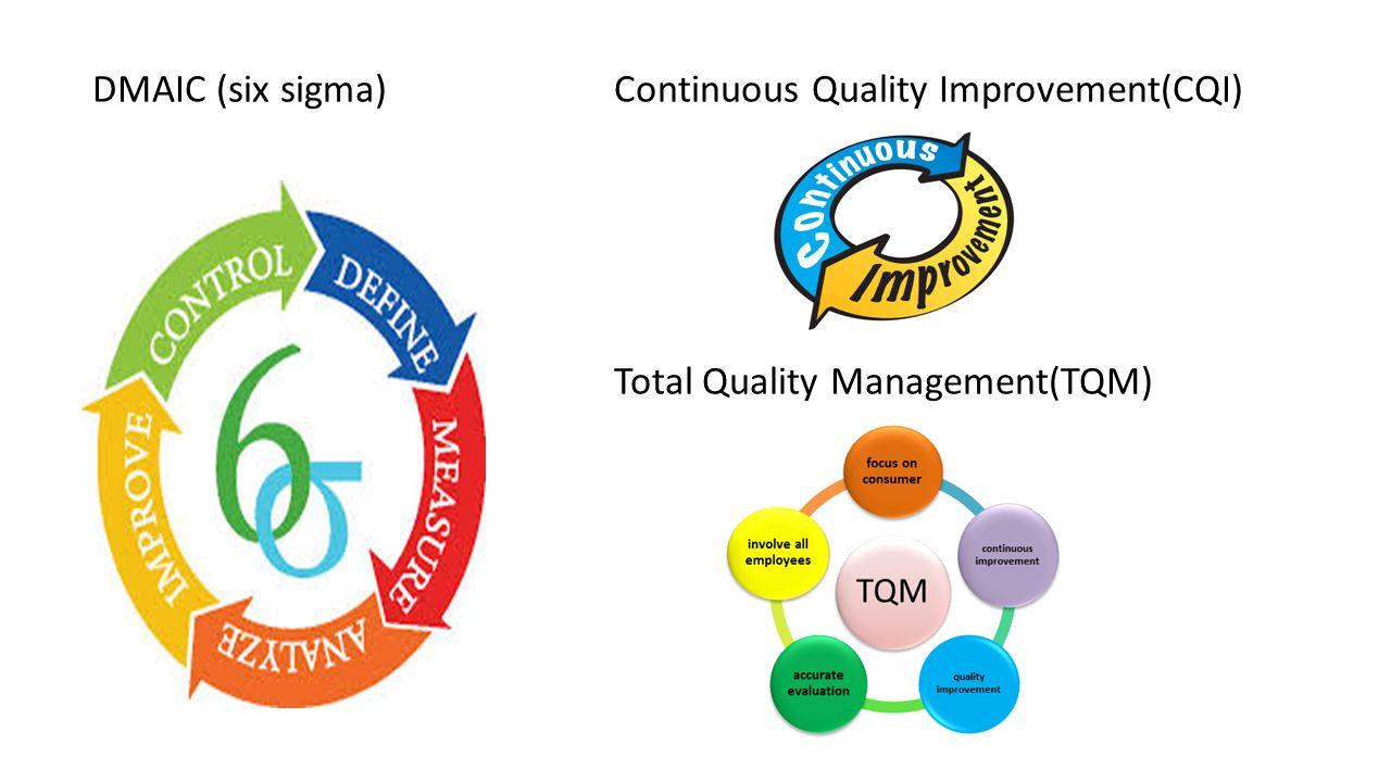 DMAIC (six sigma) Continuous Quality Improvement(CQI) Total Quality Management(TQM)