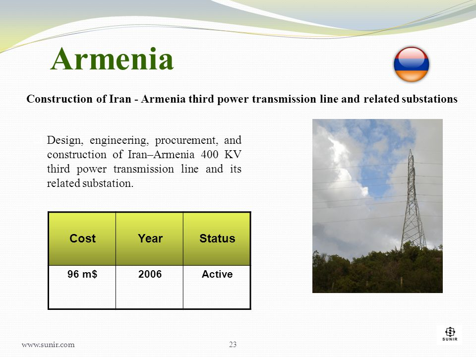 Armenia Construction of Iran - Armenia third power transmission line and related substations.