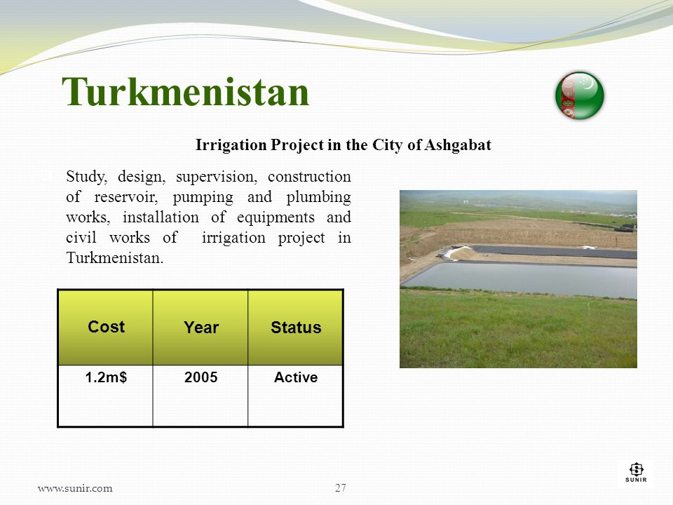 Turkmenistan Irrigation Project in the City of Ashgabat