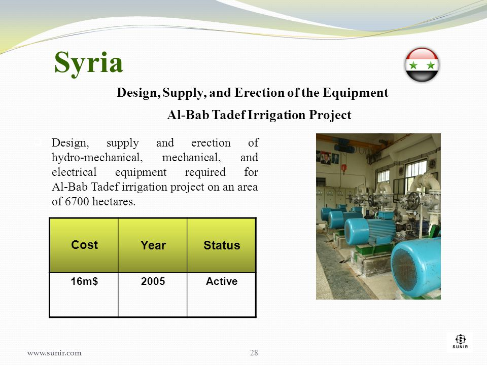 Syria Design, Supply, and Erection of the Equipment Al-Bab Tadef Irrigation Project