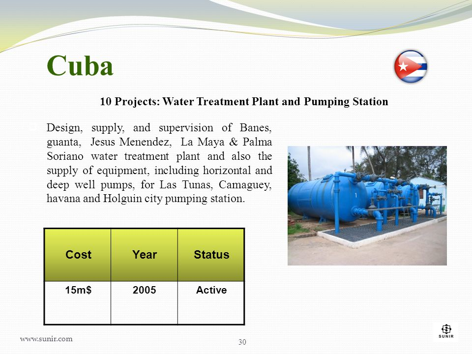 Cuba 10 Projects: Water Treatment Plant and Pumping Station