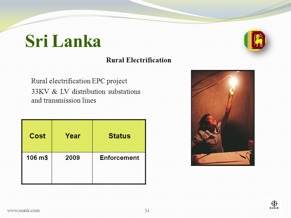 Sri Lanka Rural Electrification Rural electrification EPC project