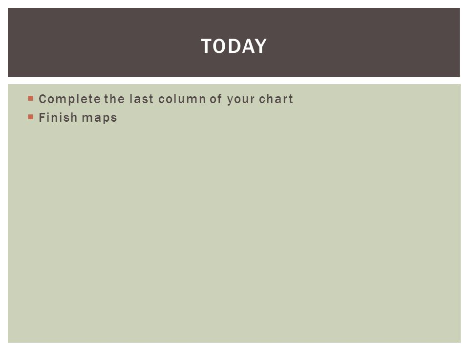 Today Complete the last column of your chart Finish maps