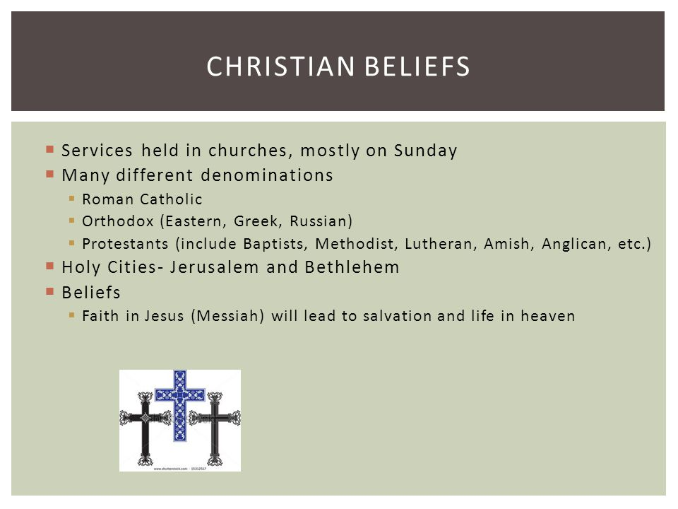 Christian Beliefs Services held in churches, mostly on Sunday