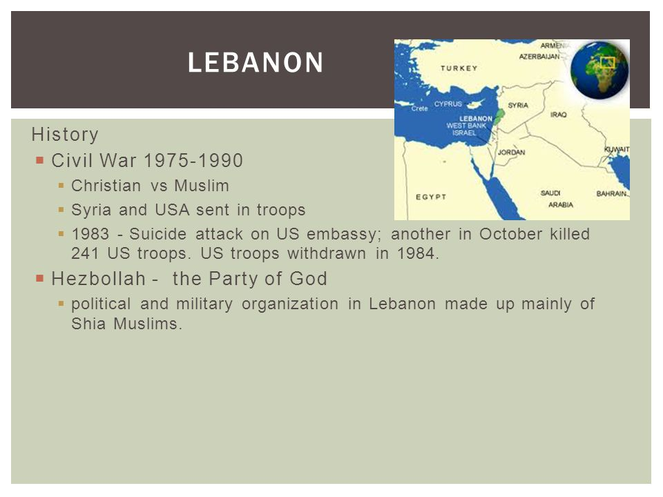Lebanon History Civil War 1975-1990 Hezbollah - the Party of God