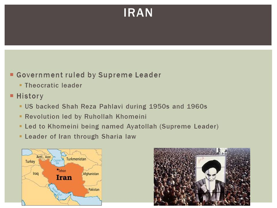 Iran Government ruled by Supreme Leader History Theocratic leader