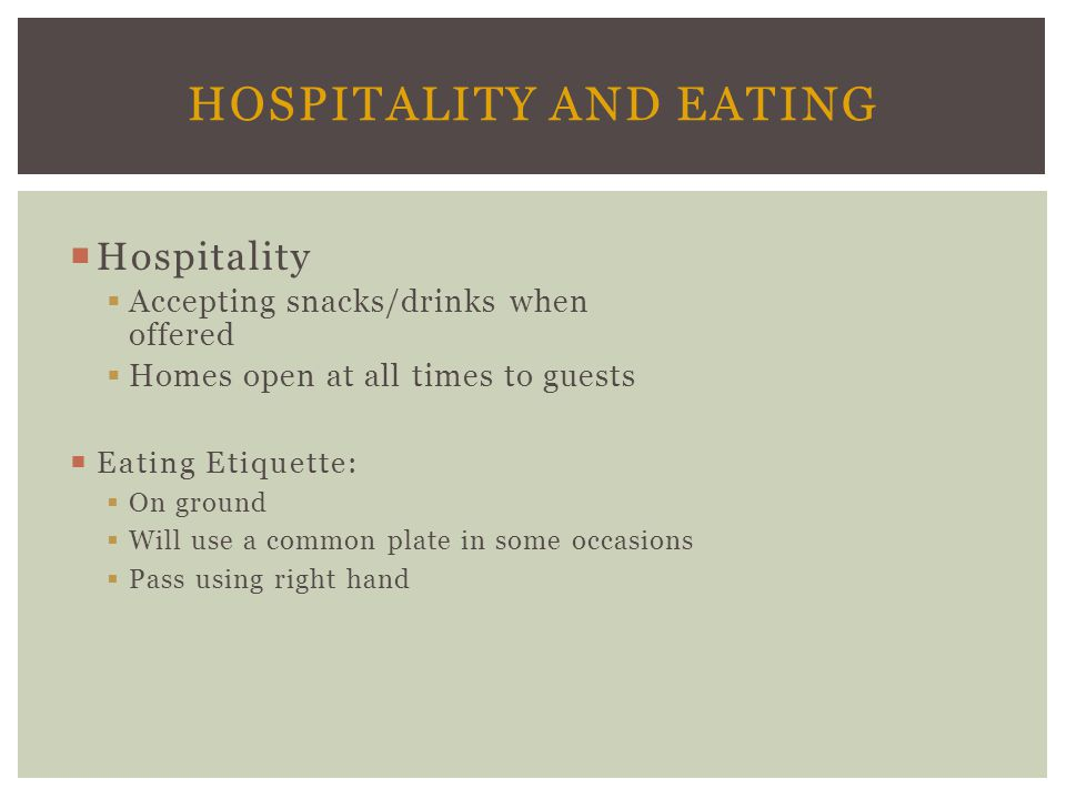 Hospitality and Eating