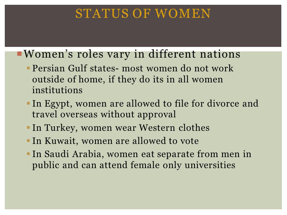 Status of Women Women's roles vary in different nations