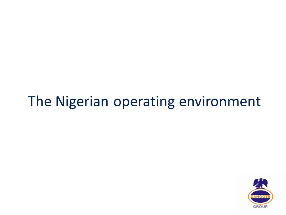 The Nigerian operating environment