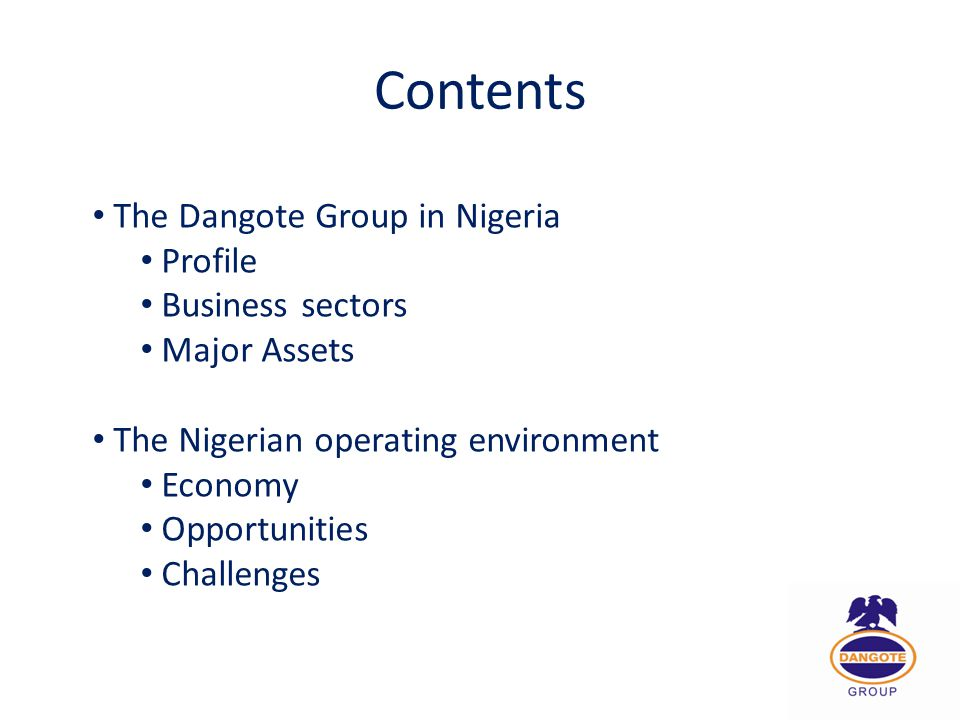 Contents The Dangote Group in Nigeria Profile Business sectors