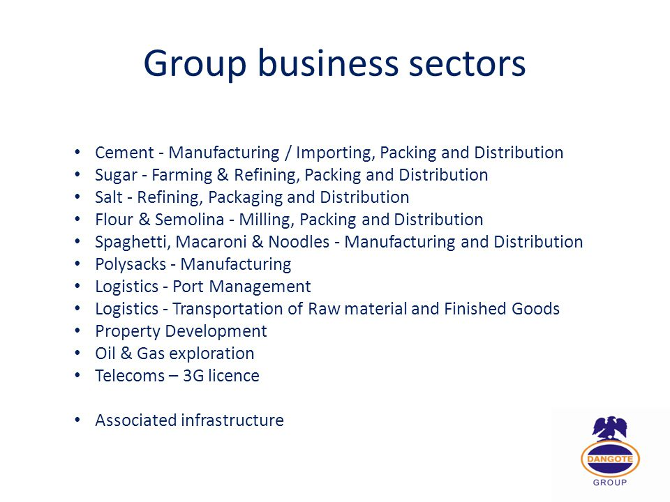 Group business sectors