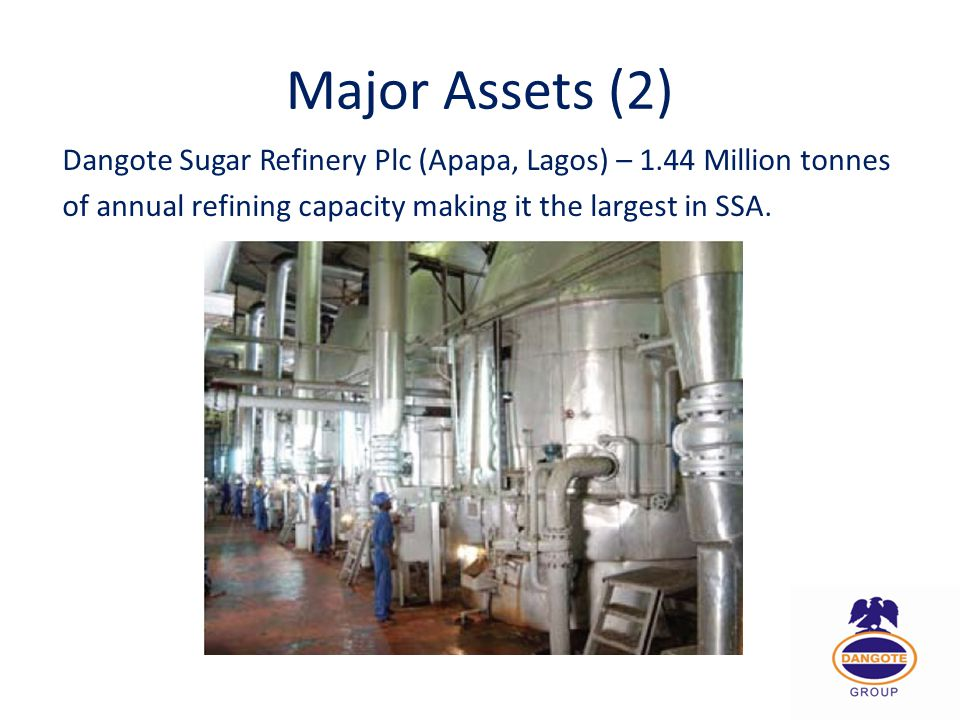 Major Assets (2) Dangote Sugar Refinery Plc (Apapa, Lagos) – 1.44 Million tonnes.