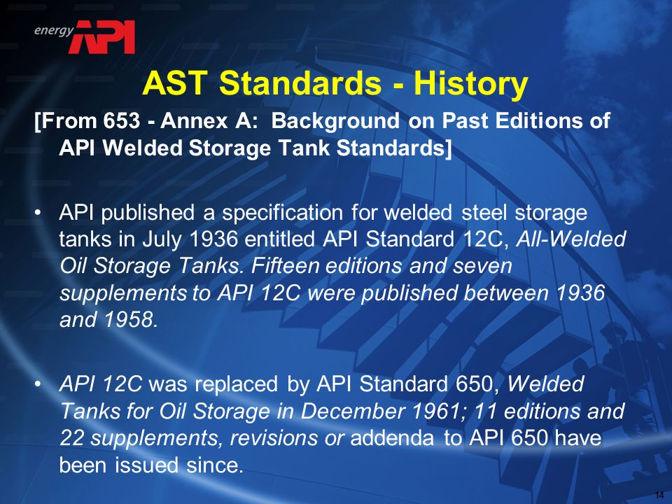 AST Standards - History