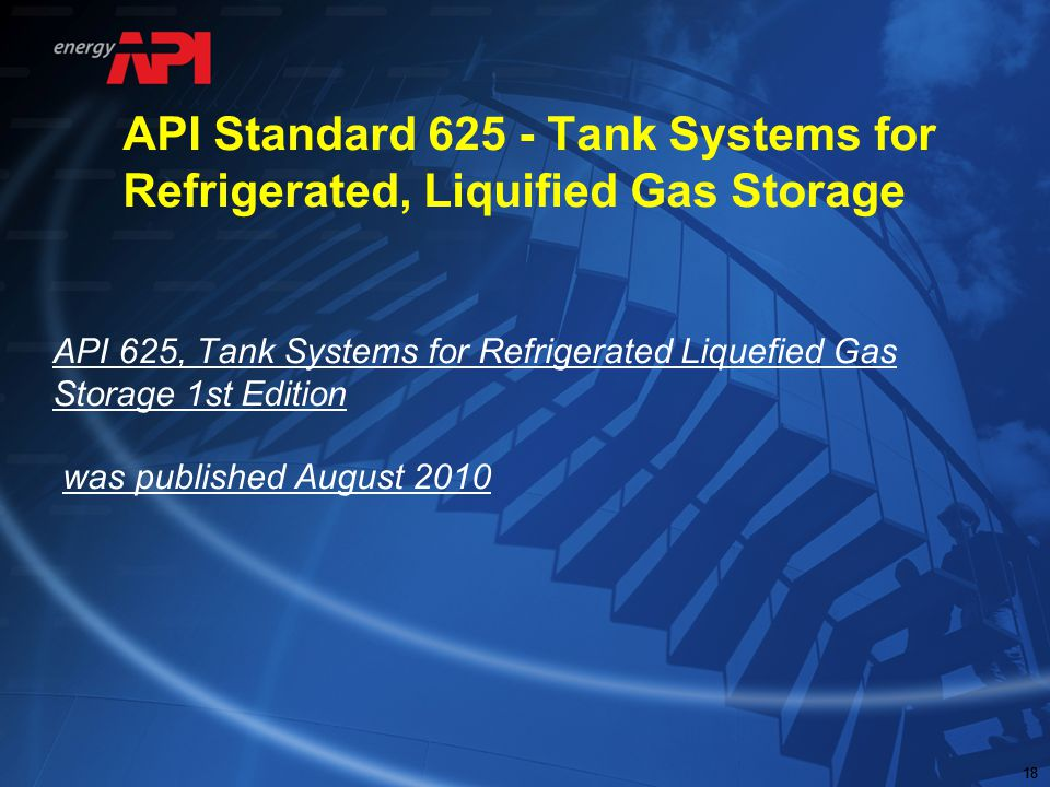 API Standard 625 - Tank Systems for Refrigerated, Liquified Gas Storage