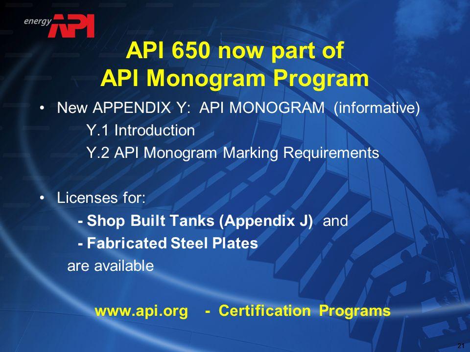 API 650 now part of API Monogram Program