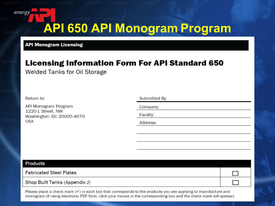 API 650 API Monogram Program