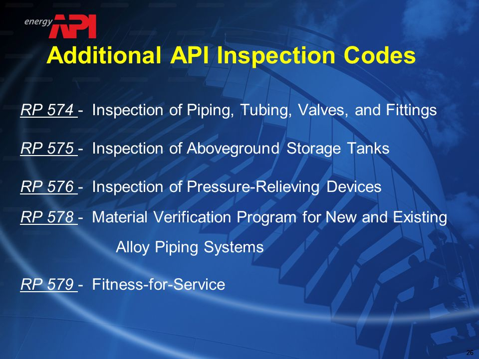 Additional API Inspection Codes