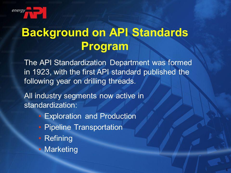 Background on API Standards Program