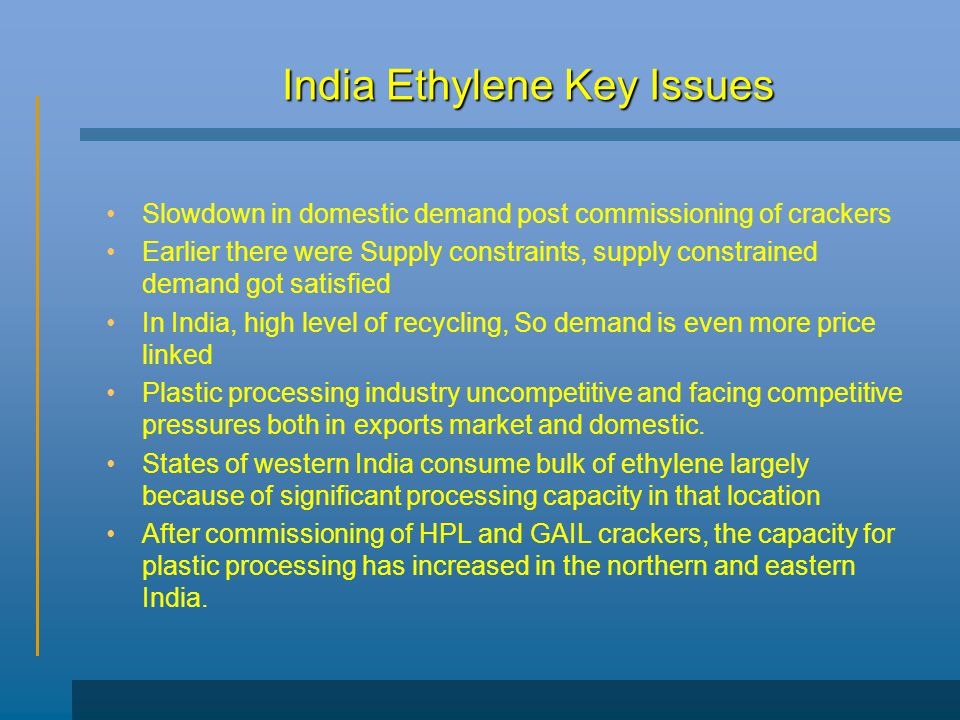 India Ethylene Key Issues