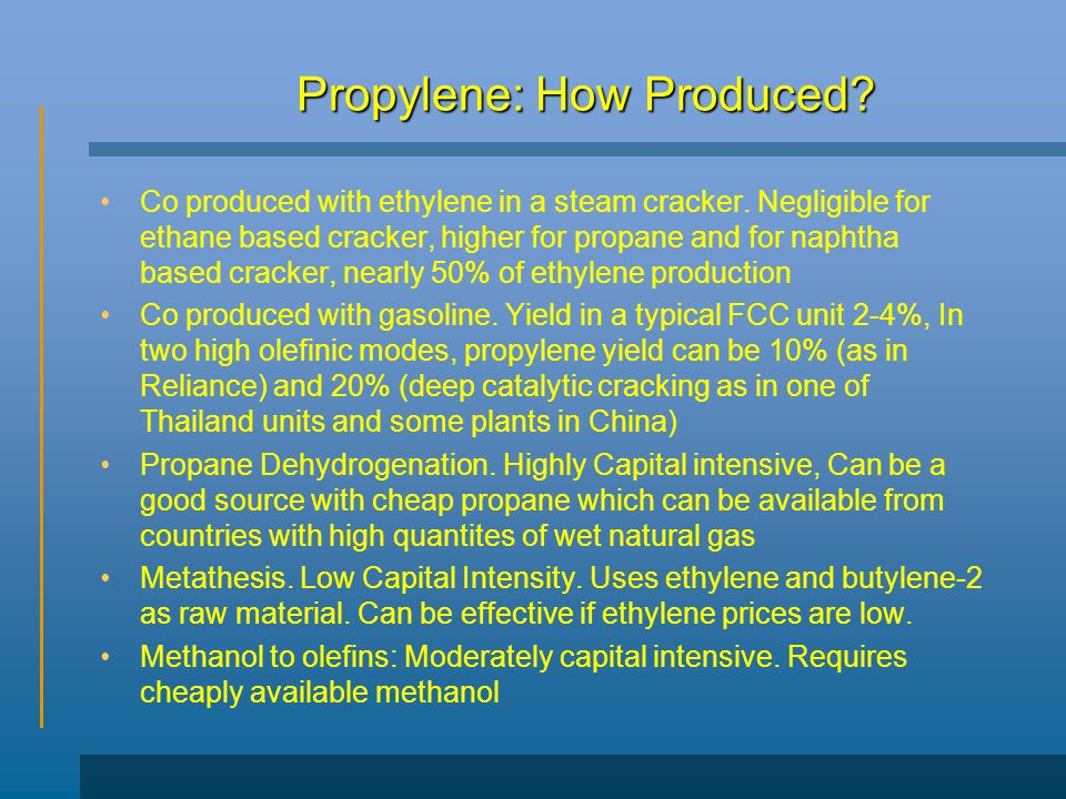 Propylene: How Produced