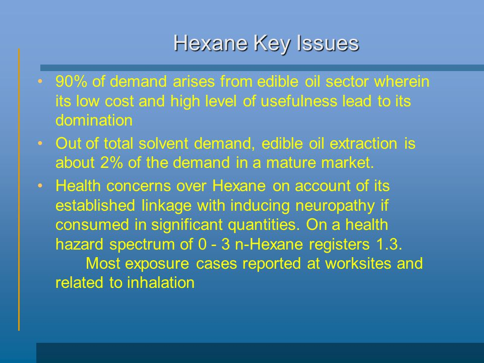 Hexane Key Issues 90% of demand arises from edible oil sector wherein its low cost and high level of usefulness lead to its domination.