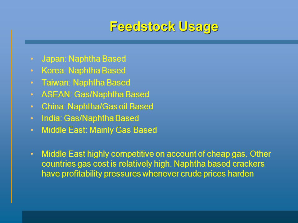 Feedstock Usage Japan: Naphtha Based Korea: Naphtha Based