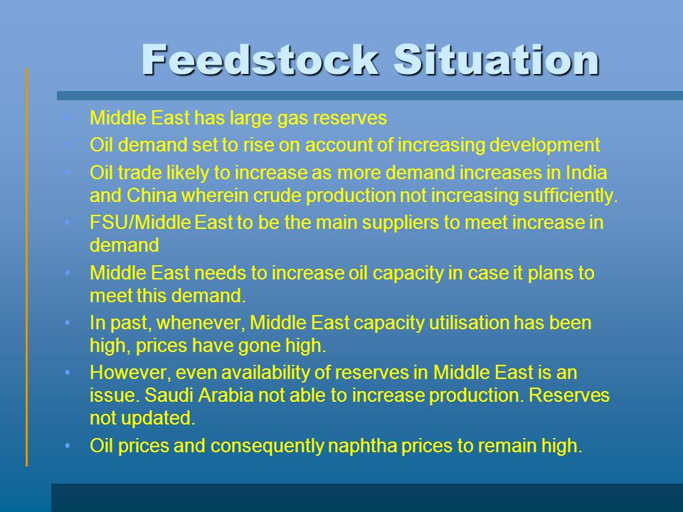 Feedstock Situation Middle East has large gas reserves
