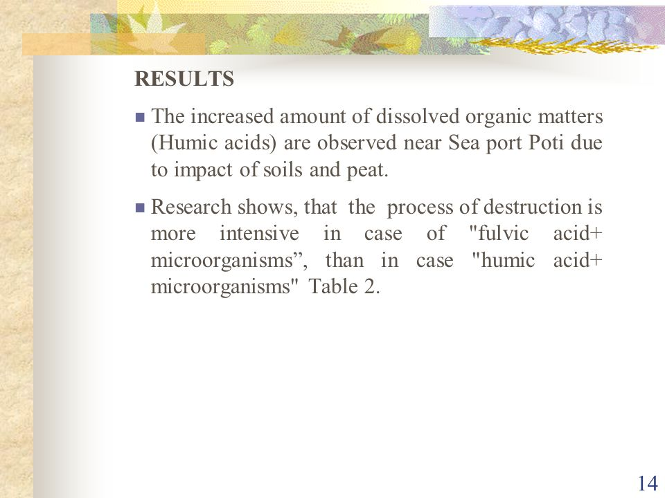 RESULTS The increased amount of dissolved organic matters (Humic acids) are observed near Sea port Poti due to impact of soils and peat.