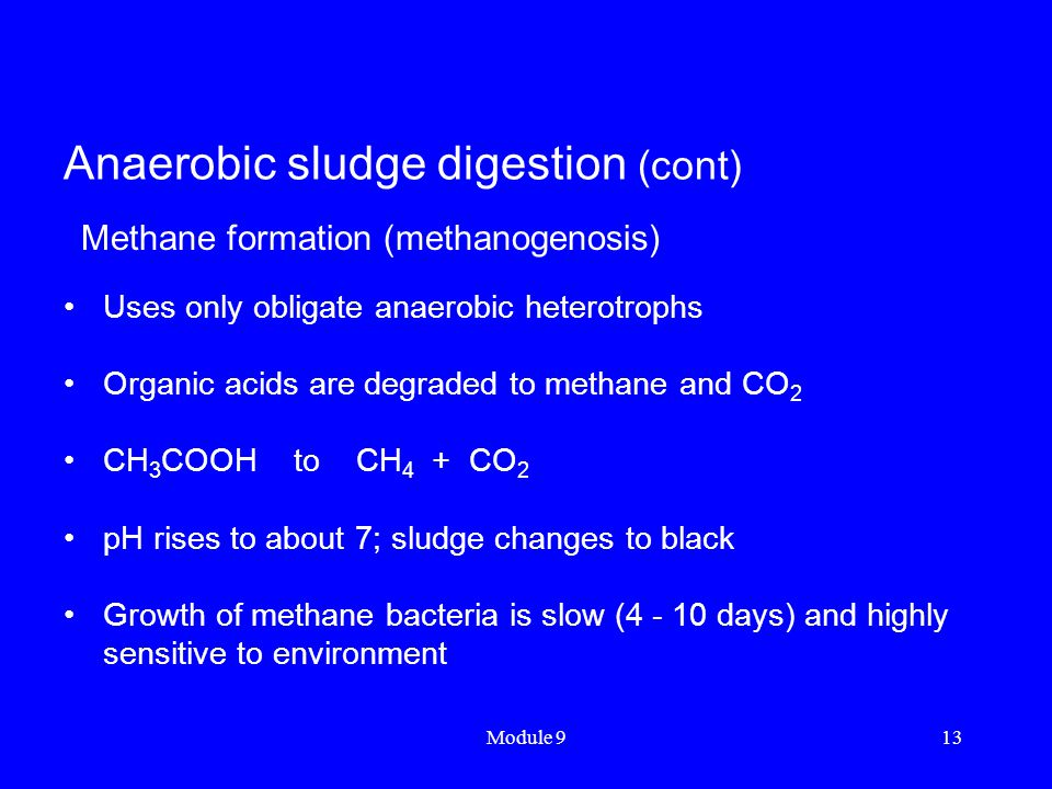Anaerobic sludge digestion (cont)
