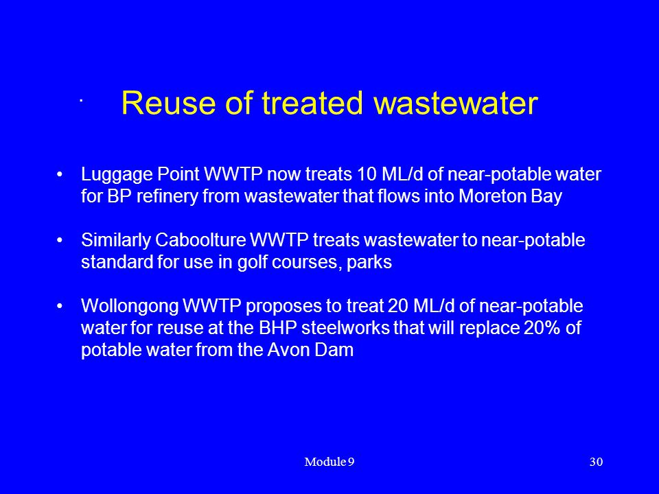 Reuse of treated wastewater