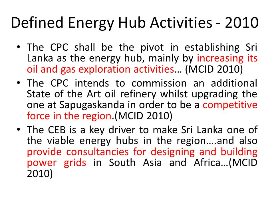 Defined Energy Hub Activities - 2010