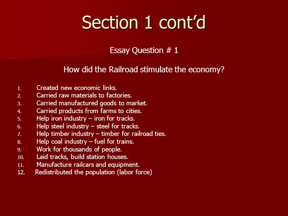 How did the Railroad stimulate the economy
